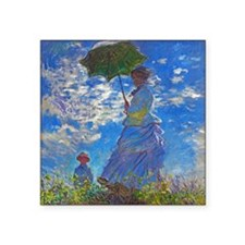 "Monet - Woman with a Parasol Square Sticker 3"" x 3"