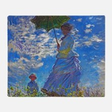 Monet - Woman with a Parasol Throw Blanket