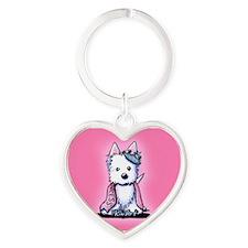 Westie Princess Sparkleheart Heart Keychain