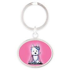 Westie Princess Sparkleheart Oval Keychain