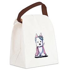 Westie Princess Sparkleheart Canvas Lunch Bag