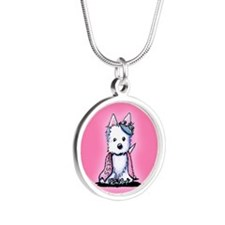 Westie Princess Sparkleheart Silver Round Necklace