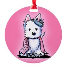 Westie Princess Sparkleheart Round Ornament