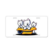 Sunday Westie Trio Aluminum License Plate