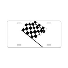 Racing Checkered Flag Aluminum License Plate