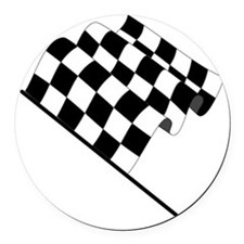 Racing Checkered Flag Round Car Magnet