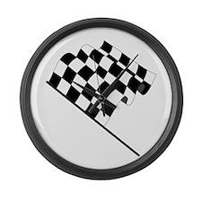 Racing Checkered Flag Large Wall Clock