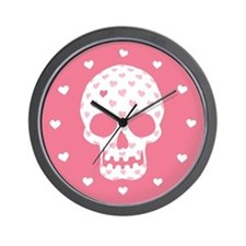 Heart Patterned Skull Wall Clock