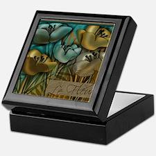 Aqua and Gold le Fleur Keepsake Box