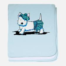 KiniArt Westie Blue Kilt baby blanket