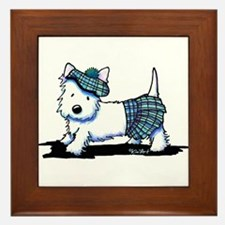 KiniArt Westie Blue Kilt Framed Tile