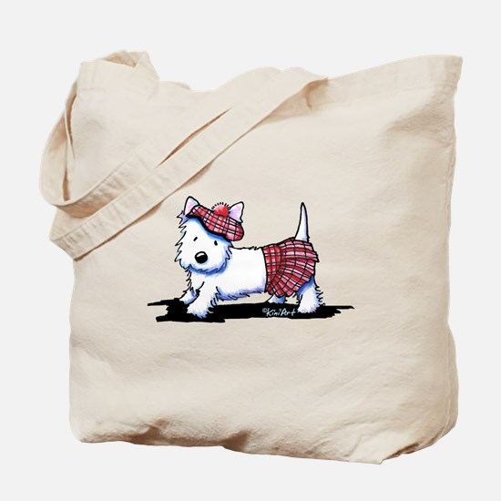 KiniArt Westie Red Kilt Tote Bag
