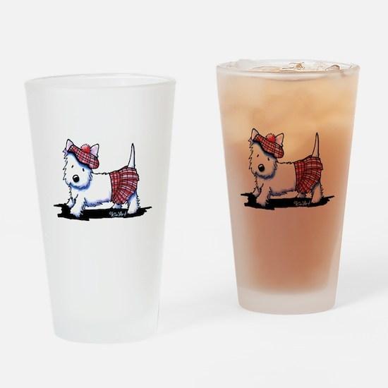 KiniArt Westie Red Kilt Drinking Glass