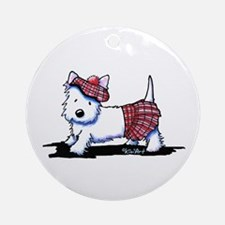 KiniArt Westie Red Kilt Ornament (Round)