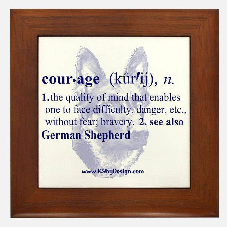 Courage--German Shepherd Framed Tile