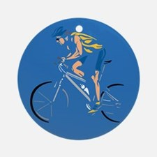 Mountain Biking Circle Design Ornament (Round)
