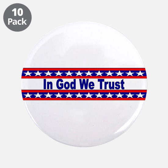 """In God stripes 3.5"""" Button (10 pack)"""