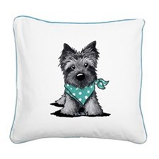 Ash Cairn Terrier In Dots Square Canvas Pillow