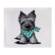 Ash Cairn Terrier In Dots Throw Blanket