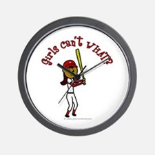 Dark Red Softball Wall Clock