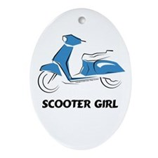 Scooter Girl (Blue) Oval Ornament