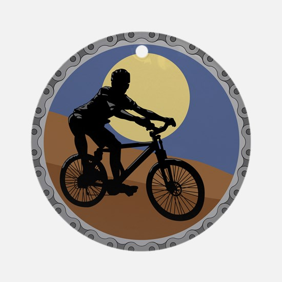 Mountain Bike Chain Design Ornament (Round)