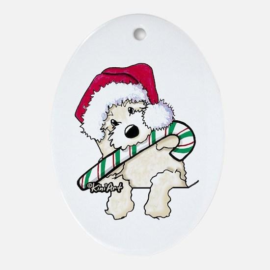 Candycane Cutie Pocket Doodle Ornament (Oval)
