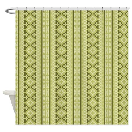 Olive Green Aztec Tribal Pattern Shower Curtain By Graphicallusions