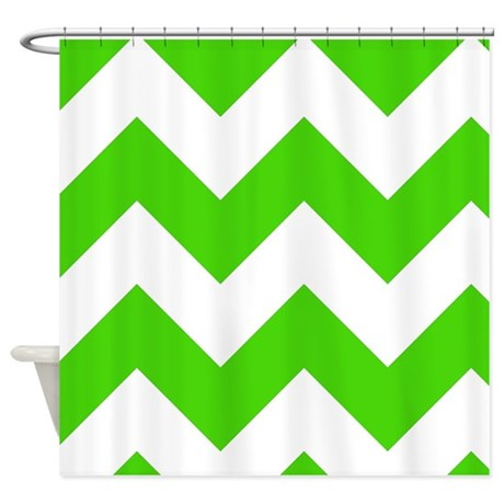 Green And White Chevron Pattern Shower Curtain By