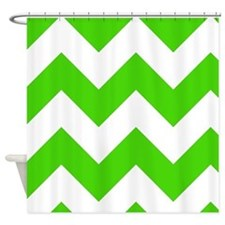 Green and White Chevron Pattern Shower Curtain