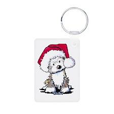 Christmas Havanese Puppy Aluminum Photo Keychain