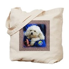 White poodle Tote Bag 10 commandmts for dogs