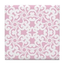Baby Pink & White Lace Tile Tile Coaster