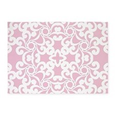Baby Pink & White Lace Tile 5'x7'Area Rug
