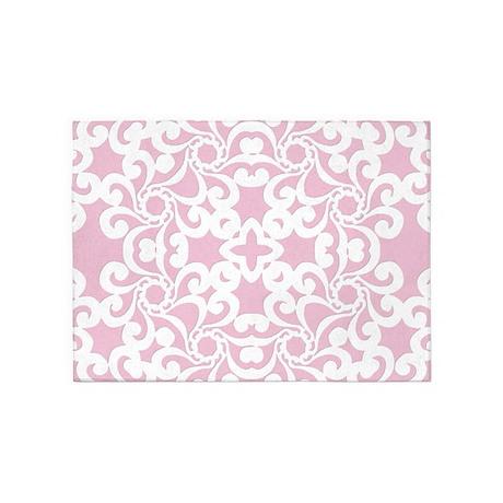 Baby Pink U0026 White Lace Tile 5u0027x7u0027Area Rug