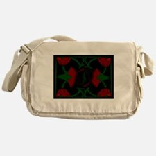 Art Deco Tulips, Red Flowers Messenger Bag