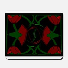 Art Deco Tulips, Red Flowers Mousepad