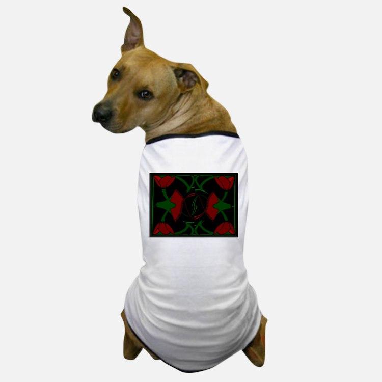 Art Deco Tulips, Red Flowers Dog T-Shirt