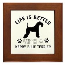 Funny Kerry Blue Terrier lover designs Framed Tile