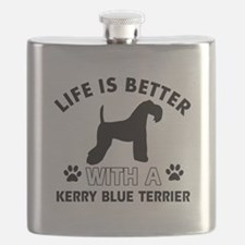 Funny Kerry Blue Terrier lover designs Flask