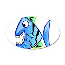 Blue Cartoon Fish Wall Decal