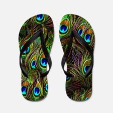 Peacock Feathers Invasion Flip Flops
