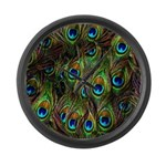 Peacock Feathers Invasion Large Wall Clock