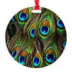 Peacock Feathers Invasion Round Ornament