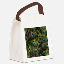 Peacock Feathers Invasion Canvas Lunch Bag