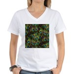 Peacock Feathers Invasion Women's V-Neck T-Shirt