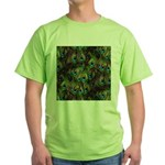 Peacock Feathers Invasion Green T-Shirt