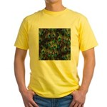 Peacock Feathers Invasion Yellow T-Shirt