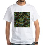 Peacock Feathers Invasion White T-Shirt
