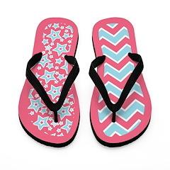 Blue Pink Starry Zigzag Flip Flops